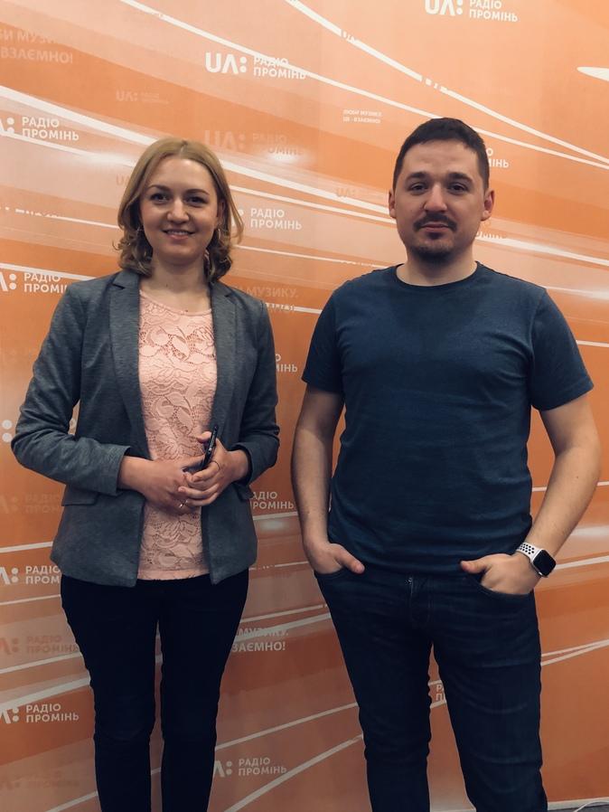 Владимир Бондаренко и ведущая Радіо Промінь